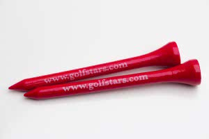 50 tees Golf Stars 70 mm red wood