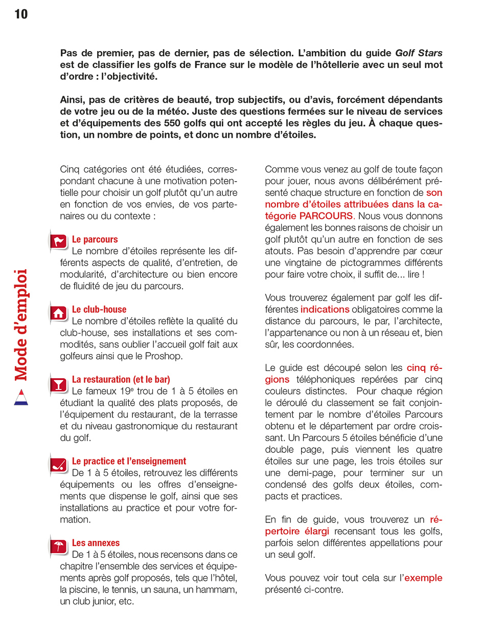 Page 2 of the guide of France Golf courses