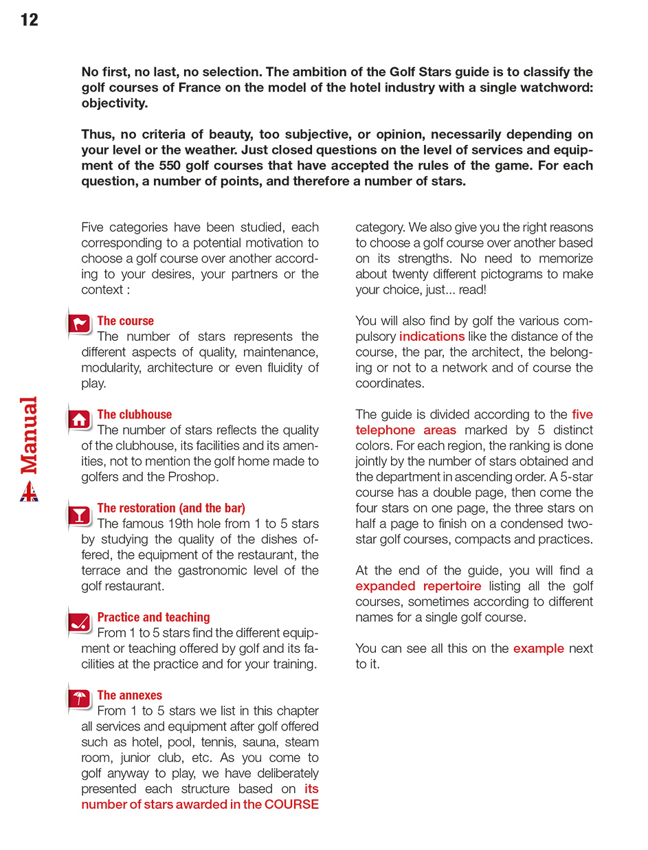 Page 4 of the guide of the France Golf courses